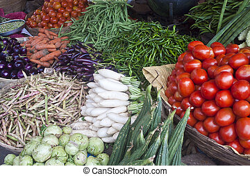 Vegetables at a market for sale