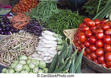 Vegetables at a market for sale