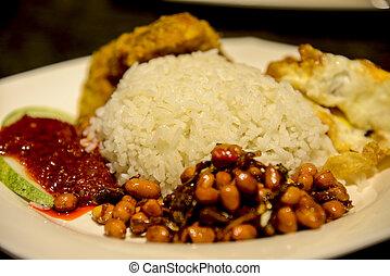 Nasi lemak traditional food of Malaysia