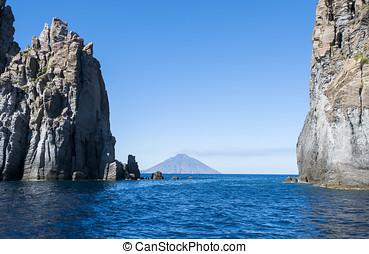 volcano island from panarea - europe, italy, sicily, eolian...