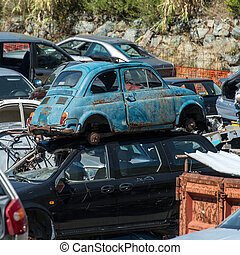 Old cars in the junkyard