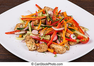 Vegetable salad with meat