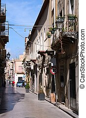 Marsala on Sicily island, Italy. Old town narrow street.