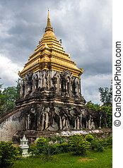 Stupa at Wat Chiang Man temple in Chiang Mai, Thailand