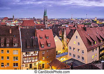 Nuremberg Skyline - Skyline of Nuremberg, Germany at night.