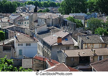 Avignon town, France - View on rooftops of old town of...