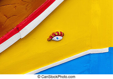 Horus or Osiris eye in Luzzu at Marsaxlokk, Malta - Eye of...