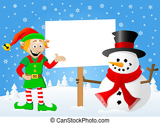 christmas elf and snowman with sign in his hand - vector...
