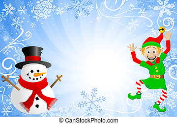 blue christmas background with a snowman and an elf - vector...