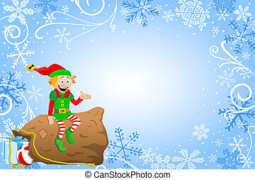 christmas background with elf