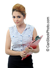 Beautiful young asian secretary holding documents isolated...