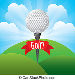 golf design over landscape  background vector illustration