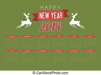 happy new year 2014 over green background vector...