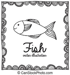 fish drawing over white background vector illustration
