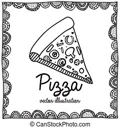 pizza drawing over white background vector illustration