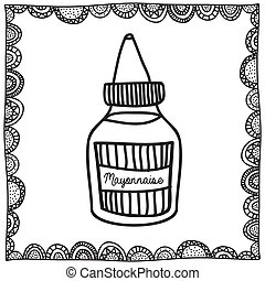 mayonnaise drawing over white background vector illustration
