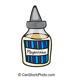 mayonnaise drawing over white background vector illustration...