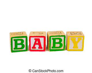 ABC blocks spelling BABY - Colorful alphabet blocks spelling...