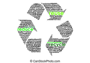 Recycle sign with text graphics and arrangement word clouds illustration concept