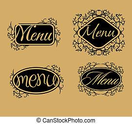 vintage retro menu line vector art