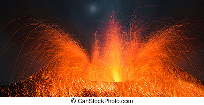 Full moon eruption of a volcano in the night Heavy volcanic...