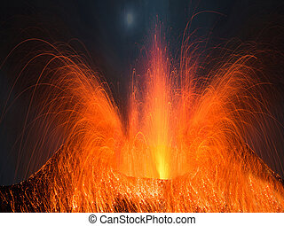 Volcano erupting at night with a very strong eruption
