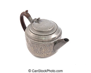 Pewter tea pot on a white background