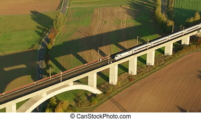 Europe high speed train - aerial shot of Europe high speed...