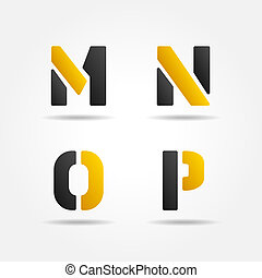 mnop yellow stencil letters