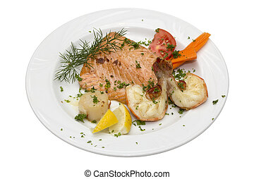 salmon - Grilled salmon and shrimps with tomato and lemon on...