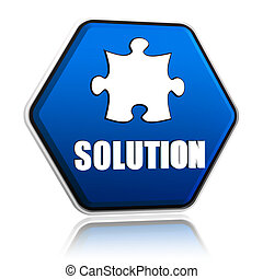 solution and puzzle sign in blue hexagon banner