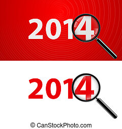 2014 with zoom. - Numerals 2014 with magnifying glass in...
