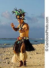 Young Polynesian Pacific Island Tahitian Man Dancer -...