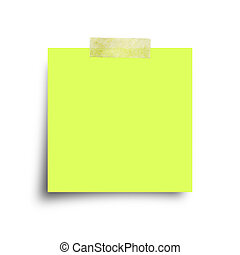 green paper note with sticky tape isolated on white - green...