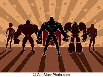 Superhero Team - Team of superheroes No transparency and...