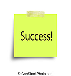 success message on green paper note with sticky tape...