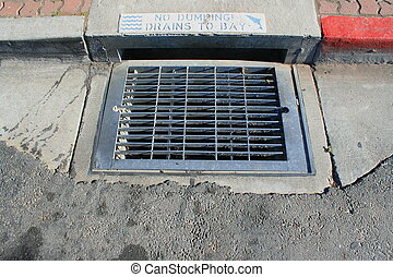 No Dumping Drains to Bay Sign