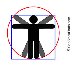 Modern parody - Vitruvian man, white background - Parody.