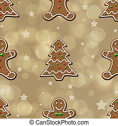 Gingerbread Cookie seamless Pattern - Elegant and delicious...