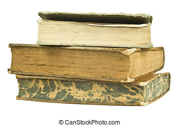 three stacked old books on pure white background