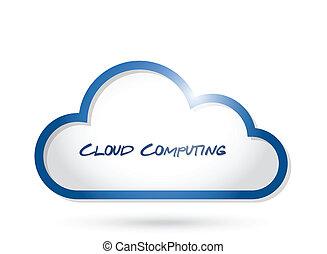 nuvem, computando, Ilustração, desenho