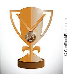 bronze trophy cup and medal illustration design