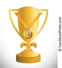 gold trophy cup and medal illustration design over white