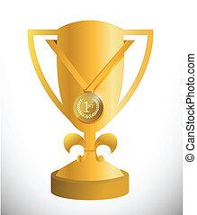 gold trophy cup and medal illustration design