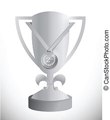 silver trophy cup and medal illustration design over white