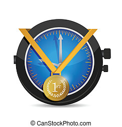 record time and medal illustration design