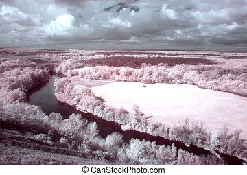 4K. InfraRed landscape: Movement of clouds over the river...