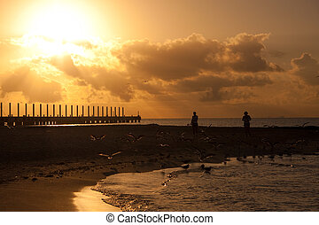 Sunrise on Beach - Silhouettes of the pier, beach and some...