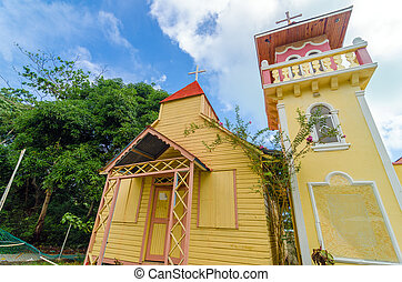 Caribbean Church - Yellow and pink church on the Caribbean...