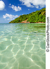 Clear Water and Tropical Island - View of crystal clear...